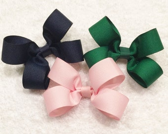 Girls Hair Bows Pink Hair Bow Green Hair Bow Navy Blue Hair Bow Girls Hair Bows Infant Hair Bows Barrettes And Clips Solid Color Bows