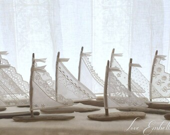 Twenty 4 to 4.75 inch Driftwood Sailboats Antique Lace and White Linen Sails Cake Topper Wedding Favors Beach Decor - Sailing Themed Decor