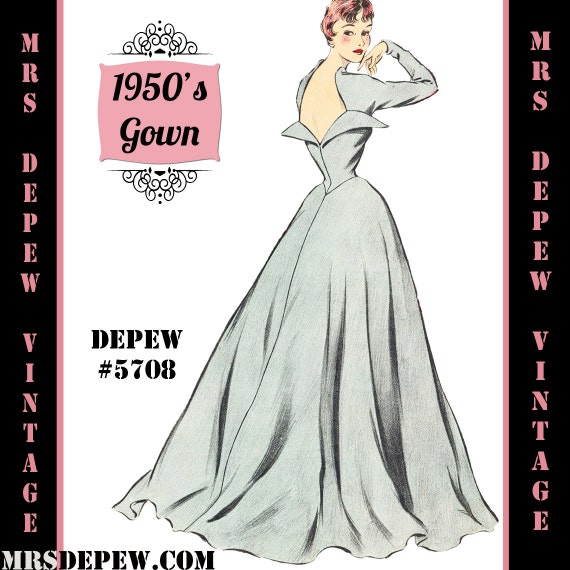 1950s Sewing Patterns | Swing and Wiggle Dresses, Skirts 1950s Long Sleeve Evening Gown in Any Size - PLUS Size Included - Depew 5708-INSTANT DOWNLOAD- $9.50 AT vintagedancer.com
