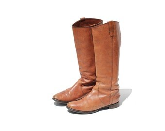 Vintage Brunt Caramel Brown Leather Tall Boots / size 9.5