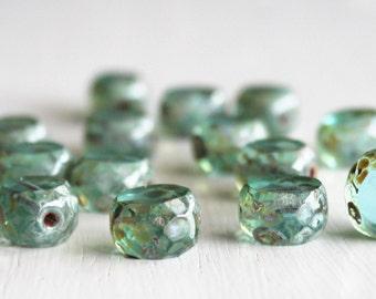 15 Aqua Picasso 12mm Czech Glass Window Cut Beads