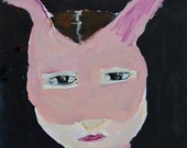 Acrylic Portrait Painting - Pink Bunny Masquerade Mask - Original Halloween Art - Easter Gift for Her