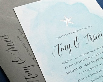 NEW Amy Blue Watercolor Beach Wedding Invitation Sample with Gold or Silver Foil Stamped Starfish, Shell, Anchor or Palm Tree