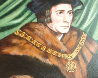 """Thomas More, 8""""x10"""" & 11""""x14"""" Prints on White Card Stock, Image taken from my Signed, Acrylic Painting Martyr, Patron of Lawyers"""