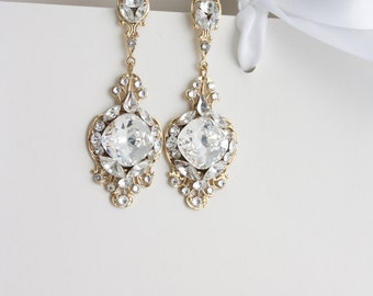 Gold Crystal Bridal Earrings Clear Crystal Rhinestone Wedding Earrings ESTELLA