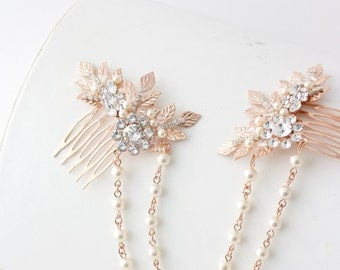 Rose Gold Hair Chain Wedding Headpiece Pearl Draped Bridal Hair Comb Set Leaf Head Piece Leaf Hair Vine Bridal Hair Accessory ANWEN