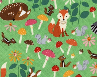 Woodland Animals Green Lets Get Nutty Timeless Treasures Fabric 1 yard