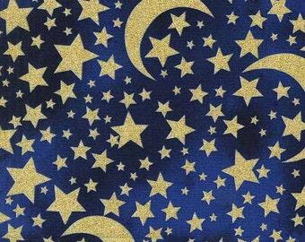 Moon Stars Midnight Glitter Michael Miller Fabric 1 yard