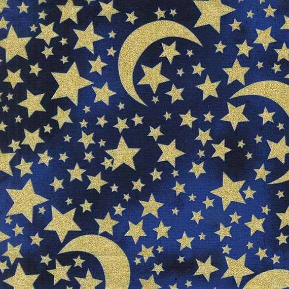 Moon stars midnight glitter michael miller fabric 1 yard for Moon pattern fabric