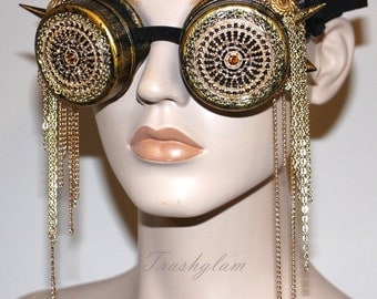 Steampunk royalty filigree spiked chain fringing eye wear GOGGLES Antique Gold brass gypsy boho relic inspired
