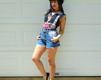 1990s Vintage Denim Suspender Overalls Plaid Patchwork Cut Off High Waisted Shorts Size Extra Small