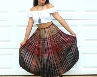 1970s Vintage Plaid Skirt Ombre Plaid Pleated Skirt Tan Red Black Plaid High Waist Tea Lenth Size Extra Small