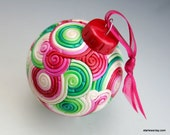 SALE Red and Green Christmas Ball in Fimo Filigree