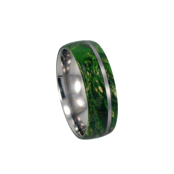 Men or Women's Wood Inlay Ring, Titanium Wedding Band With Green Box Elder Burl, Eco Friendly Jewelry