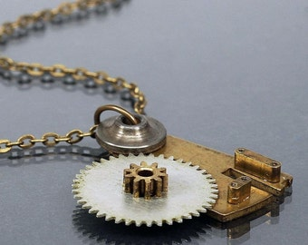 Steampunk Jewelry- Upcycled Clock Gear Brass Steampunk Necklace, Industrial Necklace by Tanith Rohe