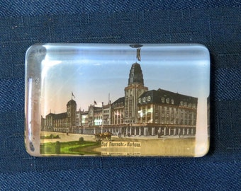 SALE Antique Glass Paperweight Bad Neuenahr Germany, Kurhaus (Spa House) Building