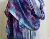 Hand-dyed Silk Shawl - Scarf - Silk Rayon Shawl, Silk Rayon Scarf - Fuchsia Silk Shawl, Blue Silk Shawl