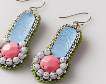 Handmade bead embroidered dangle earrings - Facets collection -