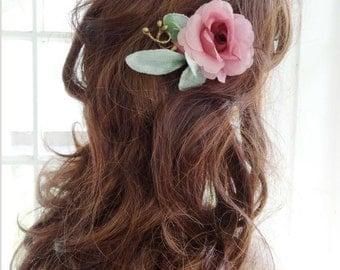 pink hair flower, bridesmaid hair accessories, mauve wedding, bridal hair piece, wedding headpiece, flower hair pin, pink flower for hair,