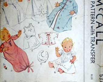 Infant's Embroidered Layette With Transfer, McCall 537 Vintage 30's Sewing Pattern, One Size