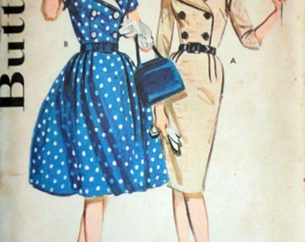 Misses' Double Breasted Dress, Butterick 2560 Vintage 50's Sewing Pattern, Size 14, 34 Bust, Uncut Factory Folded, Rockabilly