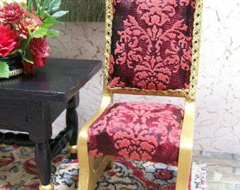 Red Chairs Burgundy Gold Damask Dollhouse Miniature 1:12 Scale Artisan