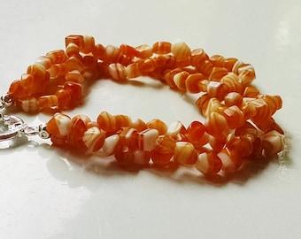 "3 Strand Orange White Braclet 7.75"" Smooth Glass Chips Bright Silver"