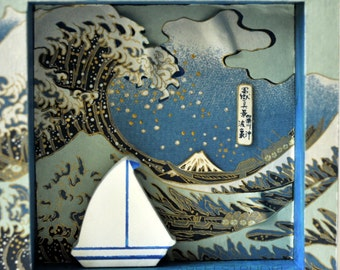 3D ARTWORK. Hokusai Wave and the Sailboat. Nursery / Child Bedroom Art Collage / Mixed Media / Shadow Box