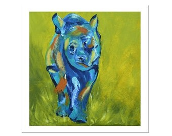 Baby Rhino Print, Animal Art, Nursery Wall Art, Rhinoceros, Wildlife Artwork