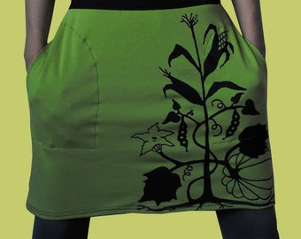 Three Sisters Skirt Native American Clothing Crust Punk Skirt Pockets Plants Mini Skirt 3 Sisters Printed Skirt Lime Green Organic Skirt