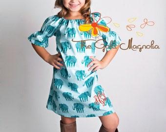 Girls Fall Peasant Dress -  Bohemian Dress - Blue Boho Dress - Blue Elephant Print Peasant Dress - Monogrammed Fall Dress