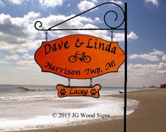 Camper Name Sign - Redwood - Bicycle Graphic Family Name with RV Sign Holder - Dad Gift Outdoor Wood Sign JG Wood Signs Etsy DaveLinda