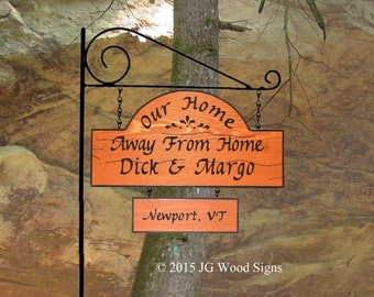 Family Name Camping Sign - w 1 add on - Redwood w/ RV Sign Holder JG Wood Signs  Etsy Camper Name Sign DickMargo