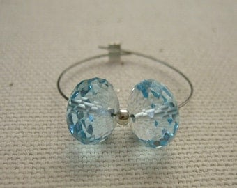 Swiss Blue Topaz Faceted Rondelle Beads 7.75mm - Matched Gemstone Pair