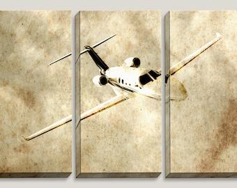 3 Panel Canvas Art, Citation, Airplane, Pilot, Cessna, Jet, Sky, Airport, CJ1, Stewardess, CitationJet, Boys, Office, Triptych, C525, C560