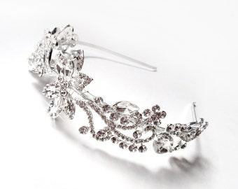 Floral Bridal Headband with Clear Crystals - Silver Metal Band - Silver Crystal Hairpiece -  Wedding Headband with Rhinestone Flowers
