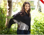 ON SALE Black Cape Shawl Poncho with fringes - Bamboo Eco Friendly Fashion Knitting Accessories - Free shipping