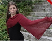 ON SALE Sheer fashion - Breezy Pomegranate Red Eco Friendly Shawl