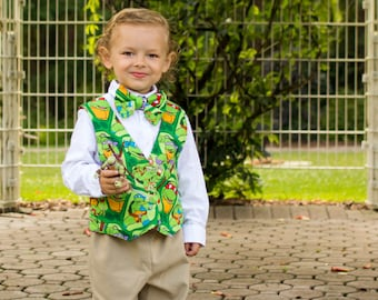 Teenage Mutant Ninja Turtles - Little Boys Birthday Outfit - Toddler - Vest Bow Tie Set - Kids Boutique - TMNT - Sizes 12 mo to 8 years