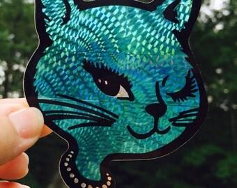 Teal Prismatic Winking Cat - Vintage Vending Machine Sticker