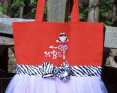Custom Boutique monogram name Tutu Dance Ballet Tote Bag