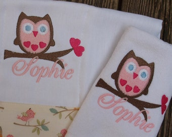 Boutique Custom Monogrammed Personalized Owl Baby Bib and Burp Cloth