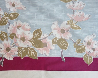 1950s Dogwood Blossom Tablecloth in Pink, Gray, Taupe and Plum