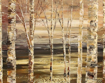 Abstract Forest Painting Palette Knife Landscape Art Handmade Original Birch Aspen Trees - by Tatiana Iliina - Made to order