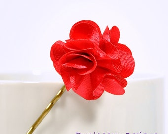 Red Flower Bobby Pin, Flower Hair Pin, Small Hair Slide