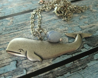 Silver Whale Necklace blue whale jewelry ocean jewelry nautical jewelry whales blue whale beach necklace handmade jewelry Moby Dick