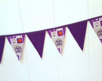 Kings Basketball Banner, Kings Fabric Banner, Birthday Decor, Pennant Flags, Fabric Bunting, Party Banner, 12 flags