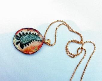 Leaf Pendant Necklace, Ceramic Jewelry Fern