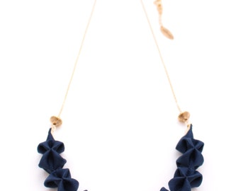 Origami Mini Necklace ー Navy Blue