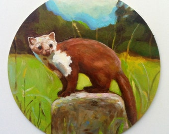 vintage wezel -original Round wood painting- Small animal painting  - animals art - art painting - animal painting